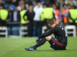 May 1, 2018 - Madrid, Spain - Goalkeeper Sven Ulreich of FC Bayern Muenchen sits on the pitch frustrated after game the UEFA Champions League Semi Final Second Leg match between Real Madrid and Bayern Muenchen at the Bernabeu on May 1, 2018 in Madrid, Spain. (Credit Image: © Raddad Jebarah/NurPhoto via ZUMA Press)