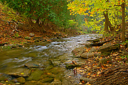 Kagawong Creek in autumn downstream from Bridal Veil Falls. Manitoulin Island<br />