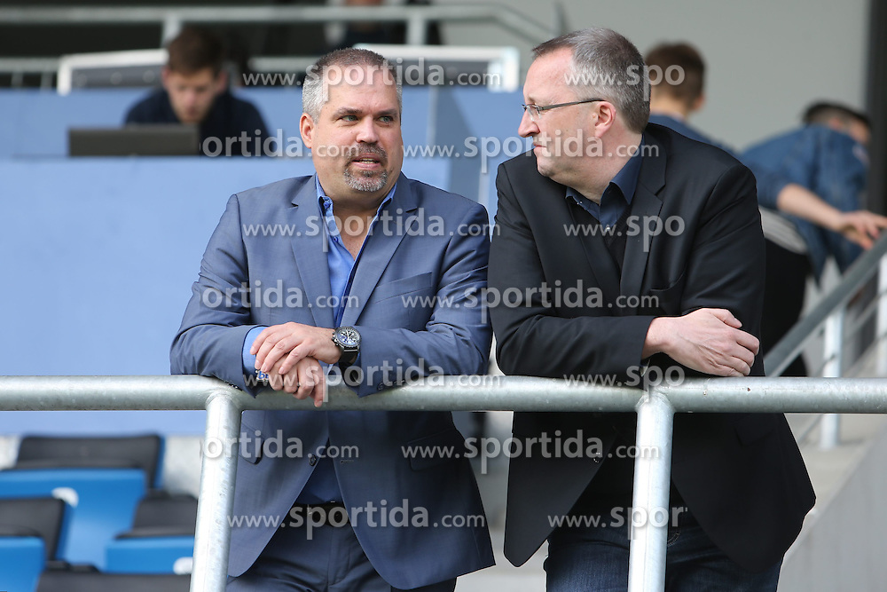 11.04.2015, Frankfurter Volksbank Stadion, Frankfurt, GER, 2. FBL, FSV Frankfurt vs SpVgg Greuther Fuerth, 28. Runde, im Bild Geschaeftsfuehrer Finanzen Clemens Krueger, Krueger (FSV Frankfurt) und Geschaeftsfuehrer Organisation/Recht Jens-Uwe Muenker (FSV Frankfurt) im Gespraech auf der Tribuene // during the 2nd German Bundesliga 28th round match between FSV Frankfurt and SpVgg Greuther Fuerth at the Frankfurter Volksbank Stadion in Frankfurt, Germany on 2015/04/11. EXPA Pictures &copy; 2015, PhotoCredit: EXPA/ Eibner-Pressefoto/ Roskaritz<br /> <br /> *****ATTENTION - OUT of GER*****