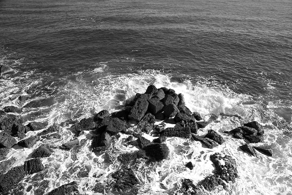 The churning waters of the Mediterranean  Sea along the coast of Ortigia on the eastern side of Sicily.
