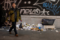 A lot of trash located near several recycling in central Madrid, Spain, November 11, 2013. This cleaning strike the streets of Madrid to protest against some 1,100 job cuts planned by utilities that are being made by the local cleaning service, Madrid, Spain, Monday, 11th November 2013. Picture by Oscar Gonzalez / i-Images<br /> SPAIN OUT