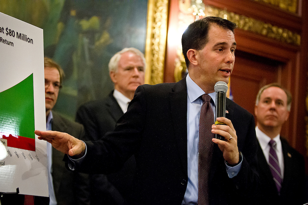 MADISON, WI – JUNE 4: Governor Scott Walker (R-WI) speaks during a press conference in the Wisconsin capitol building surrounding the construction of a new basketball arena for the Milwaukee Bucks, Thursday, June 4, 2015.