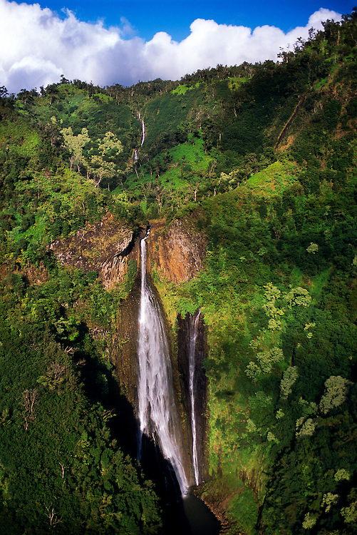 Aerial view of Waialae Falls (also known as Jurassic Park Falls), Kaua'i, Hawaii USA.