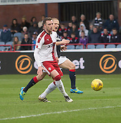 Dundee's Henrik Ojamaa and Rangers' Danny Wilson - Dundee v Rangers in the Ladbrokes Scottish Premiership at Dens Park, Dundee.Photo: David Young<br /> <br />  - © David Young - www.davidyoungphoto.co.uk - email: davidyoungphoto@gmail.com