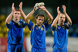 Ivan Knezovic of Domzale, Dalibor Teinovic of Domzale and Rok Hanzic of Domzale celebrate after winning the football match between NK Domzale and MIK CM Celje, played in the 10th Round of Prva liga football league 2010 - 2011, on September 22, 2010, Spors park, Domzale, Slovenia. Domzale defeated Celje 1 - 0. (Photo by Vid Ponikvar / Sportida)