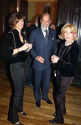 Left to right, the HON.PETRONELLA WYATT, PRINCE MICHAEL OF KENT and LADY WYATT at a party to celebrate the publication of Andrew Robert's new book 'Waterloo: Napoleon's Last Gamble' and the launch of the paperback version of Leonie Fried's book 'Catherine de Medici' held at the English-Speaking Union, Dartmouth House, 37 Charles Street, London W1 on 8th February 2005.<br />
