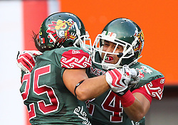 15.07.2011, Ernst Happel Stadion, Wien, AUT, American Football WM 2011, Japan (JAP) vs Mexico (MEX), im Bild Viamontes Diego jair (Mexico, #25, WR) and Cantú Sergio alenjandro (Mexico, #24, CB)  // during the American Football World Championship 2011 game, Japan vs Mexico, at Ernst Happel Stadion, Wien, 2011-07-15, EXPA Pictures © 2011, PhotoCredit: EXPA/ T. Haumer