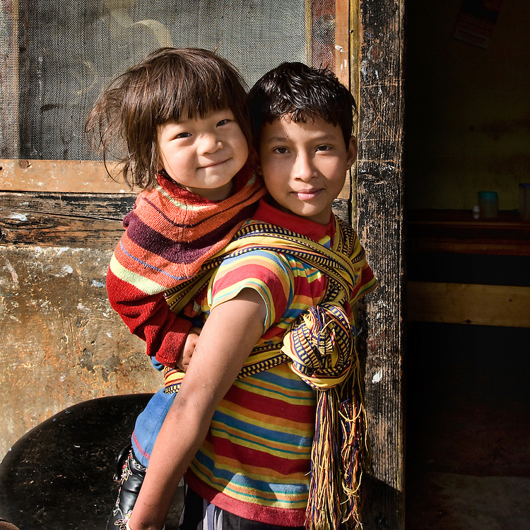Sisters on the streets of Paro, Bhutan.
