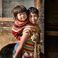 Sisters on the streets of Paro, Bhutan.