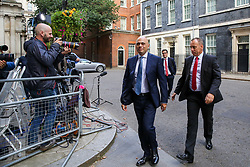 © Licensed to London News Pictures. 03/009/2019. London, UK. Chancellor of The Exchequer SAJID JAVID leaves No 11 Downing Street. MPs return to Westminster for a no deal  showdown that could result in a snap election. Photo credit: Dinendra Haria/LNP