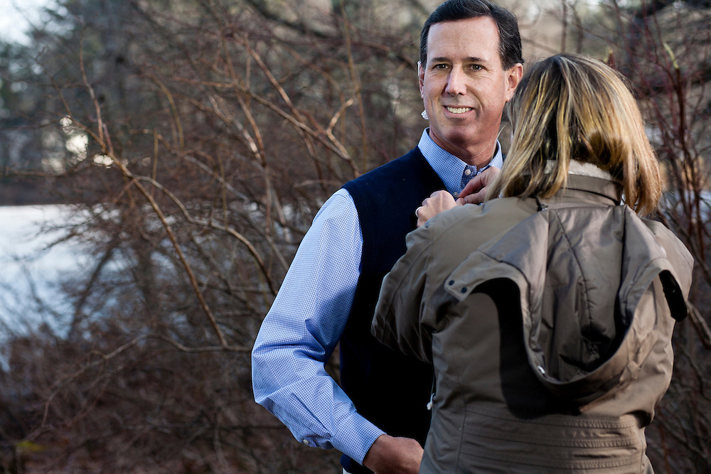 Republican presidential candidate Rick Santorum prepares for a television interview after hosting a meet and greet at Homestead Grocery and Deli on Saturday, January 7, 2012 in Amherst, NH. Brendan Hoffman for the New York Times
