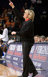 Virginia Cavaliers Head Coach Debbie Ryan directs her team against the Duke Blue Devils Women's Basketball team.  The University of Virginia Cavaliers lost to the #1 ranked Duke University Blue Devils 76-61 at the John Paul Jones Arena in Charlottesville, VA on February 2, 2007.
