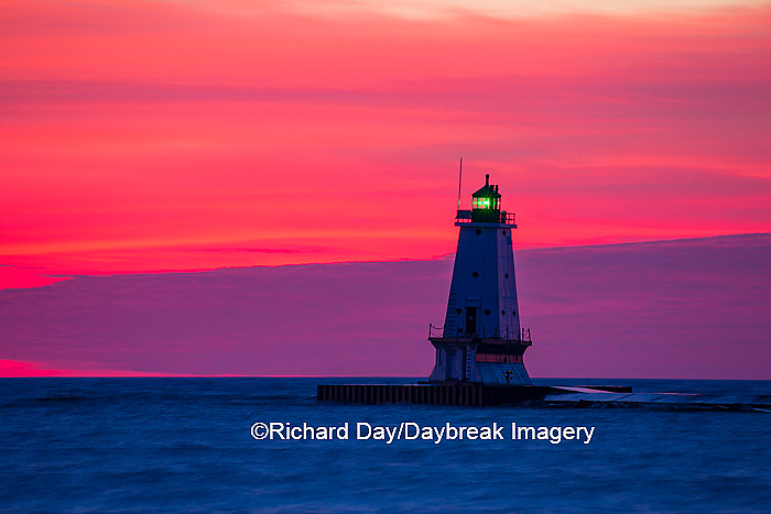 64795-01016 Ludington North Pierhead Lighthouse at sunset on Lake Michigan, Mason County, Ludington, MI