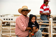 Native Americans, father and daughter, Rocky Boy Rodeo, Rocky Boy Indian Reservation, Montana
