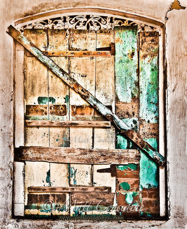 A characterful old weathered door.<br /> (Photo by Matt Considine - Images of Asia Collection)