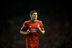 LIVERPOOL, ENGLAND - Tuesday, March 13, 2012: Liverpool's captain Steven Gerrard, making his 400th Premier League appearance, in action against Everton during the Premiership match at Anfield. (Pic by David Rawcliffe/Propaganda)