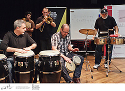 Legendary percussionist Poncho Sanchez leads a workshop for students at the New Zealand School Of Music, as well as drummers and percussionists from around Wellington, as part of the New Zealand International Arts Festival.