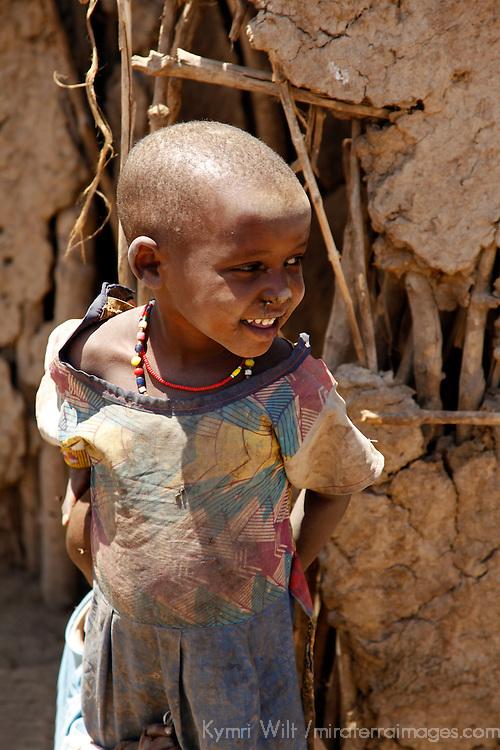 Africa, Kenya, Amboseli. Young Maasai girl.