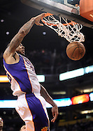 Nov. 23, 2012; Phoenix, AZ, USA; Phoenix Suns guard Shannon Brown (26) dunks the ball during the game against the New Orleans Hornets in the second half at US Airways Center. The Suns defeated the Hornets 111-108 in overtime. Mandatory Credit: Jennifer Stewart-US PRESSWIRE