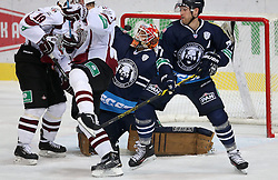 03.10.2014, Dom Sportova, Zagreb, CRO, KHL League, Medvescak vs Dinamo Riga, 13. Runde, im Bild action // during the Kontinental Hockey League 13th round match between Medvescak and Dinamo Riga at the Dom Sportova in Zagreb, Croatia on 2014/10/03. EXPA Pictures © 2014, PhotoCredit: EXPA/ Pixsell/ Igor Kralj<br /> <br /> *****ATTENTION - for AUT, SLO, SUI, SWE, ITA, FRA only*****