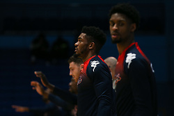 Marcus Delpeche of Bristol Flyers during the warm up - Photo mandatory by-line: Arron Gent/JMP - 07/12/2019 - BASKETBALL - Surrey Sports Park - Guildford, England - Surrey Scorchers v Bristol Flyers - British Basketball League Championship