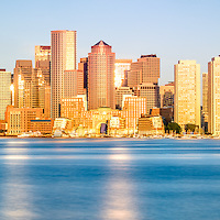Boston panoramic skyline picture. Inludes Boston Harbor and downtown Boston skyscrapers. Panoramic photo ratio is 1:3.