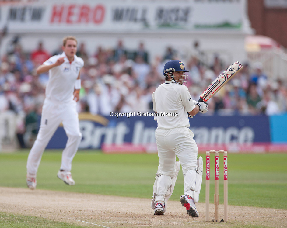 Sachin Tendulkar out to Stuart Broad during the second npower Test Match between England and India at Trent Bridge, Nottingham.  Photo: Graham Morris (Tel: +44(0)20 8969 4192 Email: sales@cricketpix.com) 30/07/11