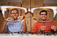 Mohsin Momin and Azim Karedia of Benji Frank eyeglasses, Oct. 25, 2012 in Houston.