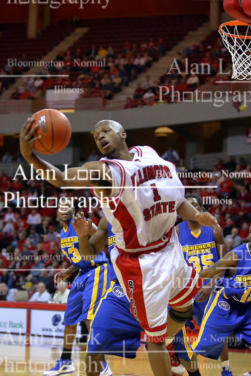 06 December 2008: Emmanuel Holloway extends his reach to grab an offensive rebound during a game where the  Illinois State University Redbirds extended their record to 9-0 with a 76-70 win over the Eagles of Morehead State on Doug Collins Court inside Redbird Arena on the campus of Illinois State University in Normal Illinois