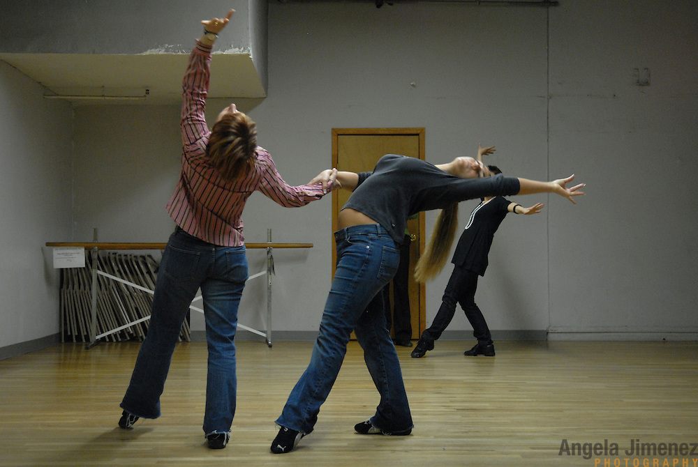 """Dancers Simone Assboeck, from left, Tamara van Leeuwen and Martina Kocichova.rehearse for """"A Show Unlike Anything on Broadway!"""" at Stepping Out Studios in Manhattan on April 25, 2007 in preparation for the 5 Boro Dance Challenge...The locally produced 5 Boro Dance Challenge, New York City's first same-sex dance competition, was held at the Park Central Hotel in Manhattan from May 4-6, 2007. ..The show was the entertainment presented in addition to the competition. ."""