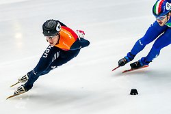 Friso Emons in action on the 1500 meter during ISU World Cup Finals Shorttrack 2020 on February 15, 2020 in Optisport Sportboulevard Dordrecht.