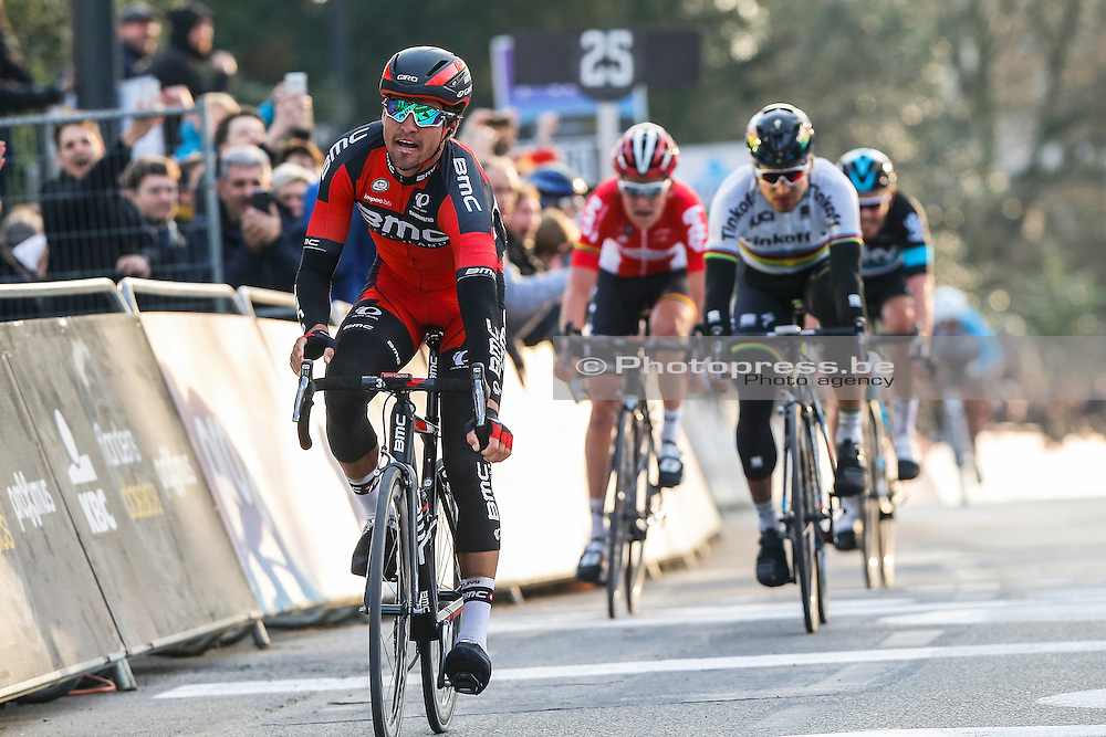 BELGIUM / GENT / GHENT / CYCLING / WIELRENNEN / CYCLISME / BELGIUM / KLASSIEKER / FLANDERS CLASSICS / GENT-GENT / 200,8 KM / OMLOOP HET NIEUWSBLAD / AANKOMST / ARRIVE / FINISH / (L-R) VAN AVERMAET GREG (BMC RACING TEAM) / BENOOT TIESJ (LOTTO SOUDAL) / SAGAN PETER (TINKOFF) / ROWE LUKE (TEAM SKY) /