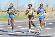 Lucy Cheruiyot (KEN), Gladys Chesir (KEN) and Valary Aiyabei (KEN) run in the women's race in the Prague Half Marathon in Prague, Czech Republic on Saturday, April 17, 2017. (Jiro Mochizuki/IOS)