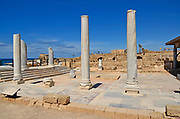 Ruins of the Roman public bathhouse, Caesarea, a town built by Herod the Great about 25 - 13 BC, lies on the sea-coast of Israel