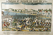 Napoleon directing the French artillery during Battle of Crossing the Bridge at Lodi, 10 May 1796.  Popular French hand-coloured woodcut.