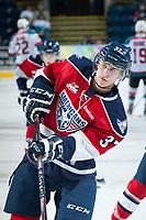 KELOWNA, CANADA - MARCH 28: Parker Wotherspoon #37 of Tri-City Americans warms up against the Kelowna Rockets on March 28, 2015 at Prospera Place in Kelowna, British Columbia, Canada.  (Photo by Marissa Baecker/Getty Images)  *** Local Caption *** Parker Wotherspoon;