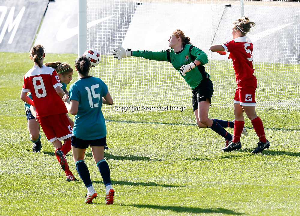 Kings Rosie White scores a goal from a header. Women's Knockout Cup Final, Three Kings United v Claudelands Rovers, North Harbour Stadium, Albany, Sunday 19th September 2010. Photo: Shane Wenzlick/PHOTOSPORT