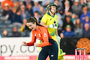 Wicket - Mady Villiers of England celebrates taking the wicket of Alyssa Healy of Australia during the 3rd Vitality International T20 match between England Women Cricket and Australia Women at the Bristol County Ground, Bristol, United Kingdom on 31 July 2019.