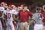 Arkansas Razorback Head Coach Houston Nutt talks to the Referee during a timeout during a 70 to 17 loss to the University of Southern California Trojans on September 17, 2005 at the Los Angeles Memorial Coliseum in Los Angeles, California..Mandatory Credit: Wesley Hitt/Icon SMI