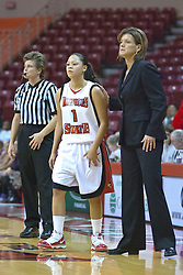 03 November 2009: Alexis Jenkins and Robin Pingeton talk during a free throw during a game between Panthers of Kentucky Wesleyan and the Redbirds of Illinois State University on Doug Collins Court inside Redbird Arena in Normal Illinois.