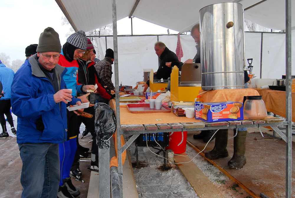 """""""Koek en Zopie"""" is a traditional snack for skaters in the Netherlands and consists of hot chocolate and cake. Often even pea soup and hot dogs are sold to the hungry and cold skaters."""