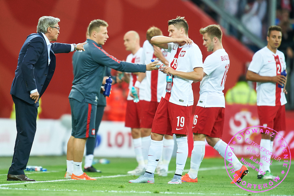 (L) Adam Nawalka trainer coach of Poland talks with Piotr Zielinski from Poland during international friendly soccer match between Poland and Greece at PGE Arena Stadium on June 16, 2015 in Gdansk, Poland.<br /> Poland, Gdansk, June 16, 2015<br /> <br /> Picture also available in RAW (NEF) or TIFF format on special request.<br /> <br /> For editorial use only. Any commercial or promotional use requires permission.<br /> <br /> Adam Nurkiewicz declares that he has no rights to the image of people at the photographs of his authorship.<br /> <br /> Mandatory credit:<br /> Photo by &copy; Adam Nurkiewicz / Mediasport