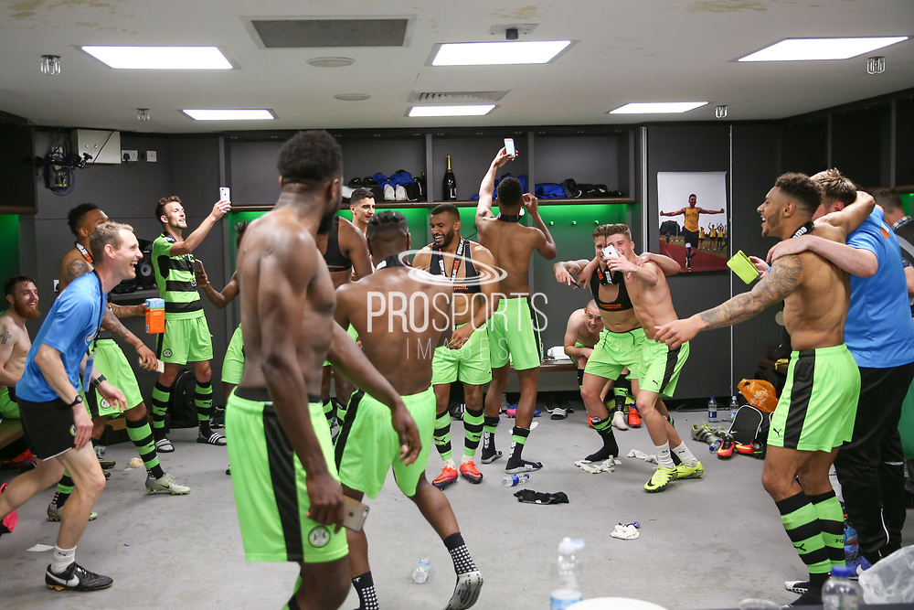 The FGR players celebrate during the Vanarama National League Play Off Final match between Tranmere Rovers and Forest Green Rovers at Wembley Stadium, London, England on 14 May 2017. Photo by Shane Healey.