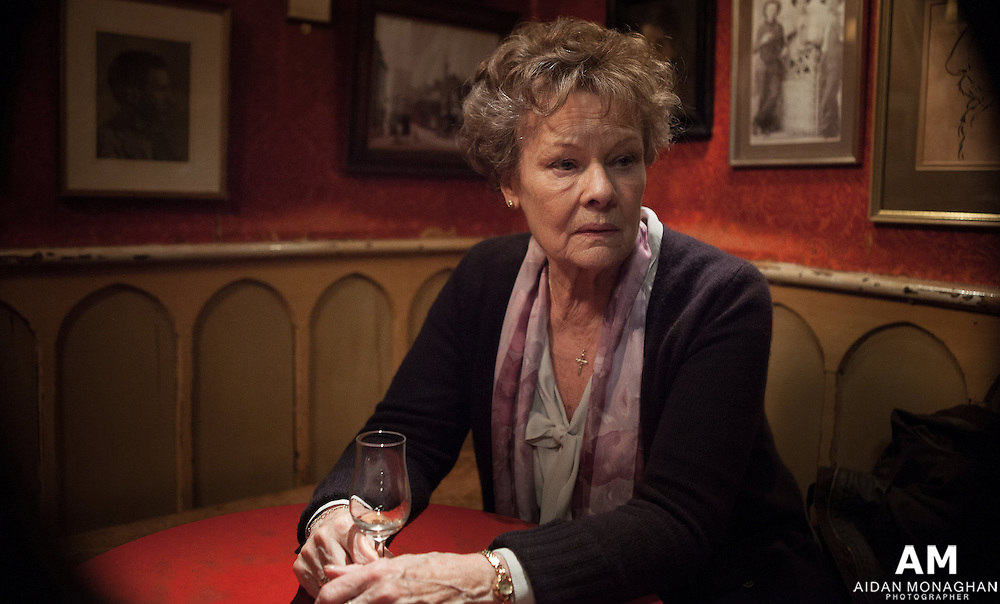 Philomena Film  2014<br /> Judi dench &amp; Steve Coogan, Adapted Screenplay, Best Picture, Philomena.<br /> <br /> Philomena is the true story of one mother&rsquo;s search for her lost son. When she falls pregnant as a teenager in Ireland in 1952, Philomena Lee (played by Judi Dench) was sent to the convent of Roscrea to be looked after as a &ldquo;fallen woman&rdquo;. Her baby was only a toddler when he was whisked away by the nuns to America for adoption. Philomena spent the next fifty years searching in vain for her son.<br /> <br /> The film was developed with the support of  BBC Films, the BFI and Path&eacute;.<br /> <br /> Filmed partly in location in Northern Ireland the Mourne Moutnains served as the backdrop for Roscrea, Co Tipperary. This photograph featuring  Dame Judi Dench was taken at the base of the Mourne Mountains and is one of the most memorable scenes of the film. Film Making, Film Posters, Film Stills, Film Stills Photography, Film Stills Photographer