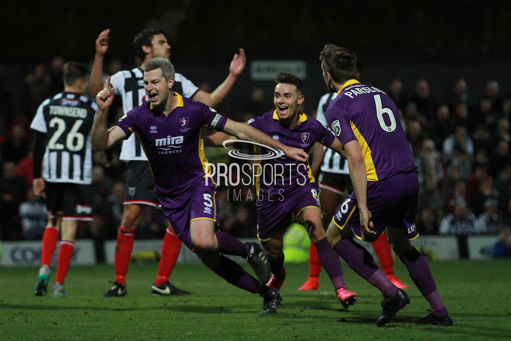 Aaron Downes celebrates his goal during the Vanarama National League match between Grimsby Town FC and Cheltenham Town at Blundell Park, Grimsby, United Kingdom on 30 October 2015. Photo by Antony Thompson.