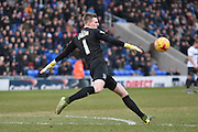 Bury Goalkeeper, Ian Lawlor clears the ball up field during the Sky Bet League 1 match between Oldham Athletic and Bury at Boundary Park, Oldham, England on 23 January 2016. Photo by Mark Pollitt.