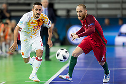 Joselito of Spain and Pedro Cary of Portugal during futsal match between Portugal and Spain in Final match of UEFA Futsal EURO 2018, on February 10, 2018 in Arena Stozice, Ljubljana, Slovenia. Photo by Urban Urbanc / Sportida