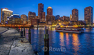 Boston Harbor at Night Panorama, Reflections in Water, Waterfront