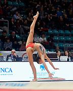 Nina Corradini from Ginnastica Fabriano team during the Italian Rhythmic Gymnastics Championship in Bologna, 9 February 2019.