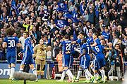Chelsea midfielder Eden Hazard (10), Chelsea defender Cesar Azpilicueta (28), Chelsea defender David Luiz (30) celebrate 3rd goal during the The FA Cup semi final match between Chelsea and Tottenham Hotspur at Stamford Bridge, London, England on 22 April 2017. Photo by Sebastian Frej.